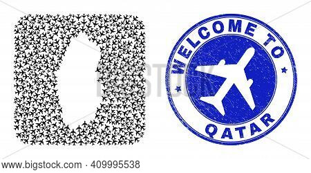 Vector Mosaic Qatar Map Of Airline Items And Grunge Welcome Seal. Mosaic Geographic Qatar Map Constr