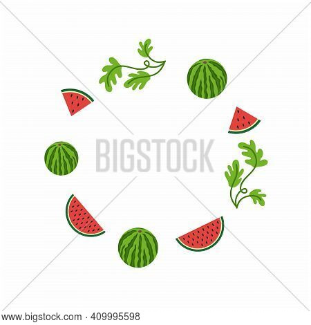 National Watermelon Day In The United States. Round Photo Frame With Watermelon, Watermelon Slice An