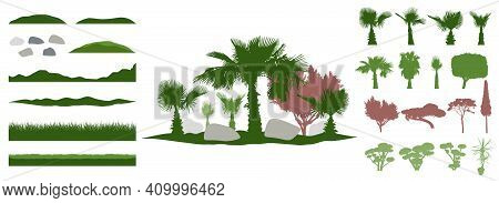 Constructor Kit. Silhouettes Of Beautiful Decorative Trees, Bonsai And Palm Tree And Topiary And Pin