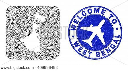 Vector Collage West Bengal State Map Of Air Vehicle Elements And Grunge Welcome Badge. Collage Geogr