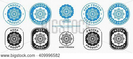 Concept For Product Packaging. Marking - Keep Frozen And Frozen Product. Closed Snowflake Icon Insid