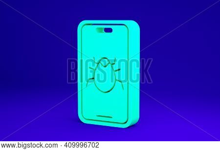 Green System Bug On Mobile Icon Isolated On Blue Background. Code Bug Concept. Bug In The System. Bu