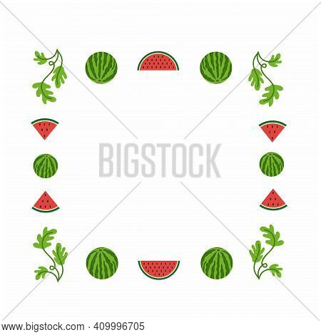 Square Frame For Making Photos With Watermelon, Watermelon Slice And Leaves. Design Of Fruit Summer