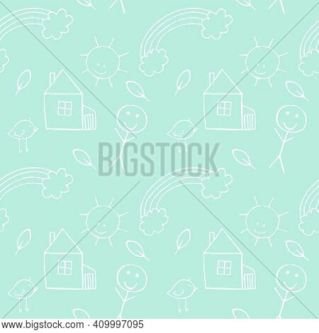 Green Seamless Childrens Background With Childrens Doodles-pencil Illustrations Of Birds, People, Tw