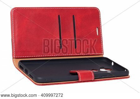Mobile Phone Case Isolated. Close-up Of A Red Brown Leather Mobile Phone Case With Magnetic Closure