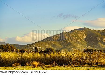Spanish Coast Landscape With Church Hermitage Of Saint Lucia And Saint Benedict On Hill, Province Of