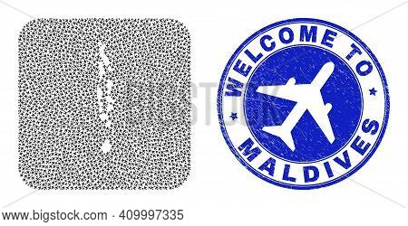 Vector Mosaic Maldives Map Of Air Shipping Elements And Grunge Welcome Stamp. Collage Geographic Mal