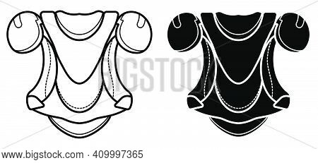 Ice Hockey Player Protective Equipment Icon. Shoulder And Chest Protection For Upper Body. Team Spor