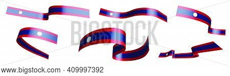 Set Of Holiday Ribbons. Flag Lao People Democratic Republic Waving In Wind. Separation Into Lower An