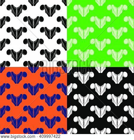 Set Of Seamless Patterns With American Football Player Chest Protector. Shoulder And Chest Protectio