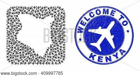 Vector Collage Kenya Map Of Airlines Items And Grunge Welcome Seal Stamp. Collage Geographic Kenya M