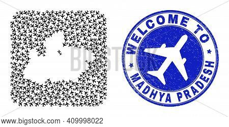 Vector Collage Madhya Pradesh State Map Of Air Plane Elements And Grunge Welcome Badge. Mosaic Geogr