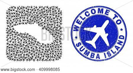 Vector Mosaic Sumba Island Map Of Air Fly Elements And Grunge Welcome Seal. Collage Geographic Sumba