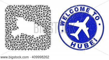 Vector Collage Hubei Province Map Of Air Shipping Elements And Grunge Welcome Badge. Collage Geograp