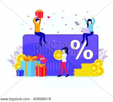 Loyalty Marketing Program, People Receives A Gift Box, Discount And Loyalty Card, Rewards Card Point