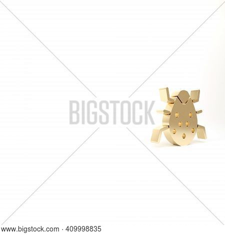 Gold System Bug Concept Icon Isolated On White Background. Code Bug Concept. Bug In The System. Bug