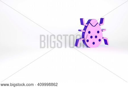 Purple System Bug Concept Icon Isolated On White Background. Code Bug Concept. Bug In The System. Bu