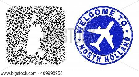 Vector Mosaic North Holland Map Of Airways Items And Grunge Welcome Badge. Collage Geographic North