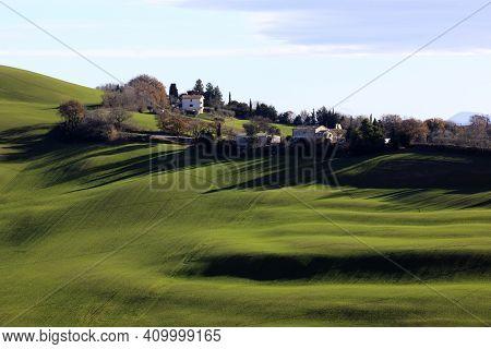 Corinaldo (an), Italy - January 1, 2019: The Landscape Near Corinaldo Village, Corinaldo, Ancona, Ma