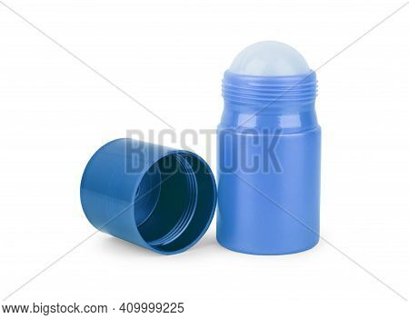 Body Antiperspirant Deodorant Roll-on, Open And Closed Blank White Bottle With Screw Cap.
