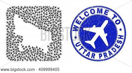 Vector Collage Uttar Pradesh State Map Of Airlines Elements And Grunge Welcome Stamp.