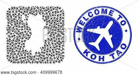 Vector Collage Koh Tao Map Of Air Flight Elements And Grunge Welcome Seal Stamp. Collage Geographic