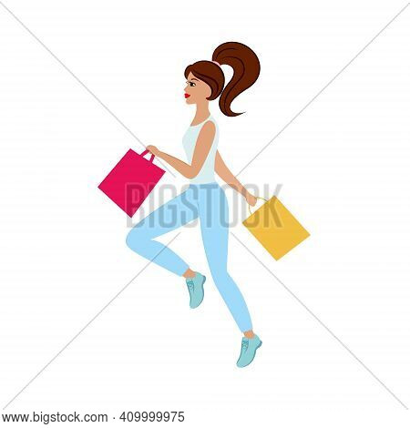 A Beautiful Slender Girl Runs To The Store With Shopping Bags For Discounts. Promotion, Best Offers.