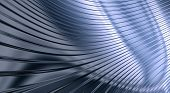 An abstract background in the form of three-dimensional model of corrugated sheet metal reflecting light poster