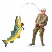 The fisherman with big fish (Brown Trout - Salmo Trutta). Success concept. poster