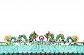 The colorful dragon made from ceramic tail with white background poster