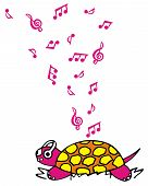 Vectorized drawing of a turtle having a headset and listening to music. Pink and funky with music notes. poster