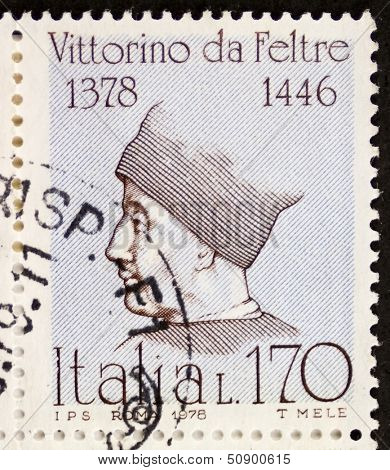 ITALY - CIRCA 1978: a stamp printed in Italy shows  portrait of  Vittorino da Feltre (1378 �¢?? 1446), Italian humanist and teacher. Italy, circa 1978
