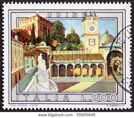 ITALY �¢?? CIRCA 1978 a stamp printed in Italy shows an illustration of Udine, Piazza della Libert���   detail, Friuli-Venezia-Giulia region, northeastern Italy. Italy, circa 1978