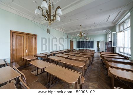 MOSCOW - MAY 13: Classroom with tables in the Faculty of Physics in Moscow State University on May 13,2013 in Moscow, Russia.
