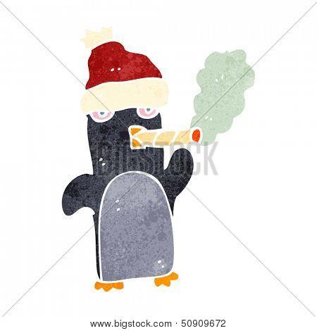 retro cartoon funny christmas penguin smoking cigarette poster