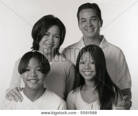 Black And White Portrait Of Filipino Family