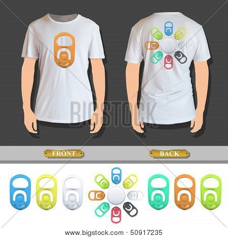 Set Of Colorful Ring Of Can Printed On White Shirt. Vector Design.