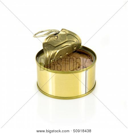 Open Can Of Tuna Isolated Over White Background