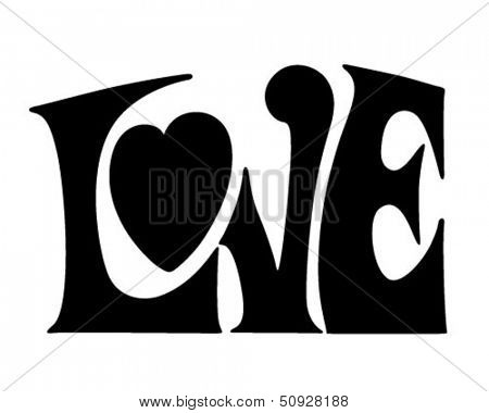 Love Banner - Retro Clip Art Illustration