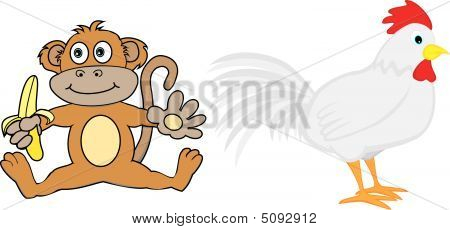 Cute Illustration of ninth and tenth animals in the Chinese Zodiac Monkey And Rooster poster