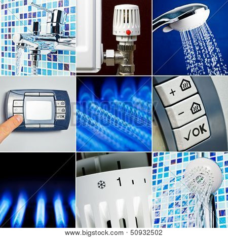 Home heating system collection set