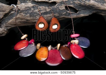 poster of handcrafted jewelry handmade in Ecuador with tagua