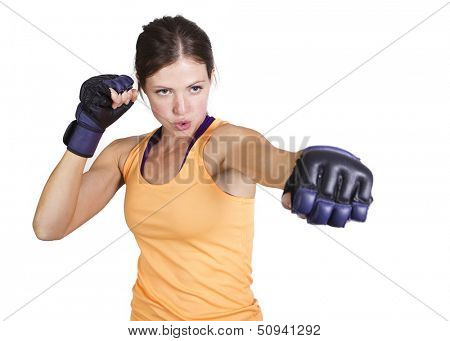 Strong muscular Woman boxing poster