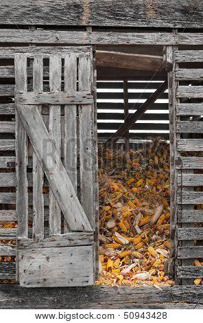 Corn Crib With Open Door