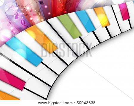 Colorful musical concept with piano, can be use as flyer, poster, banner or background for musical parties and concert.