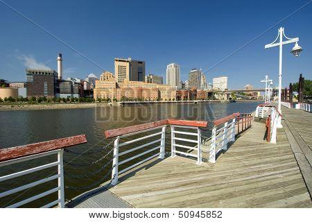 Saint Paul skyline form the Harriet Island Marina, St. Paul, Minnesota, USA