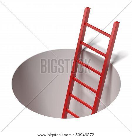Ladder standing inside hole