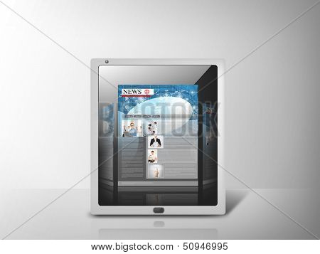 business, technology, internet and news concept - illustration of tablet pc with news app