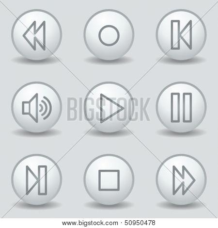 Walkman web icons, circle white matt buttons