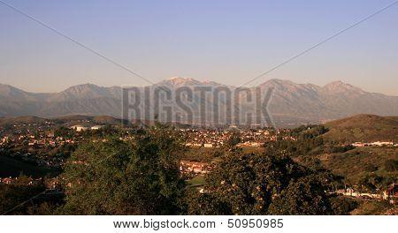 San Gabriel Mountains dusk panorama